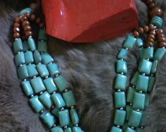 Turquoise and wood beaded necklace