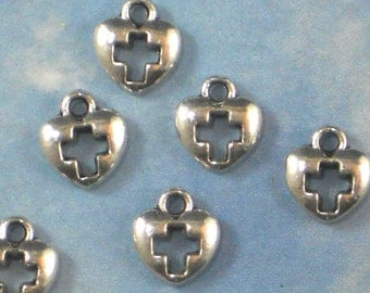 25 Cross in Heart Charms Tibetan Silver Tone 10mm  Perfect for Programs & Cards (P1251)