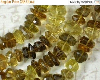 SALE Unique Lemon & Smoky Quartz Beads Finely Faceted Gemstone Polygon Nuggets Side Drilled Top Quality RARE (5262i)