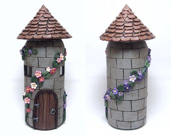 Custom Floral Princess Castle, Fairy House, Polymer Clay, Recycled Glass, Garden Decoration, Secret Storage Box, Night Light, Unique Gift