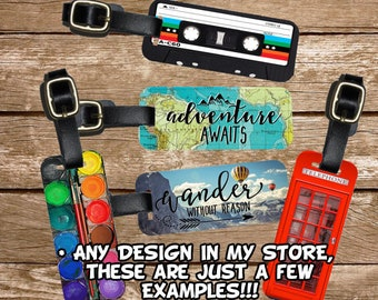 SMALL Carry On Luggage Tag , Small Individual Personalized Single Tag - Choose Any Design in my Store great for Carry On Backpack Purses