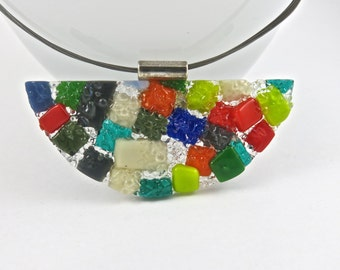 Multicolor Hand Made Half Circle Fused Glass Choker Necklace