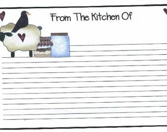 Prim Sheep n Crow Recipe Cards ~ R49