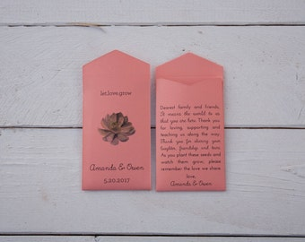 50+ Succulent Coral Custom Seed Packet Wedding Favors - Many Colors Available