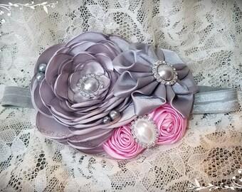 Flower Headband/girls flower headband/flower girl headband/flower girl headpiece/Hair Accessories/girls headbands/Gray & Pink headband