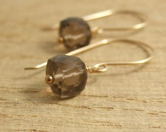 Earrings with Smokey Quartz Square Beads Wire Wrapped with Gold Filled Wire GHE-7