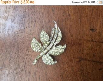 ON SALE Vintage Art Deco Rhinestone Rhodium Plated Leaf Pin