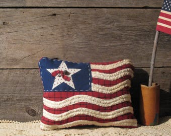 Country Primitive Americana Pillow - Red White and Blue