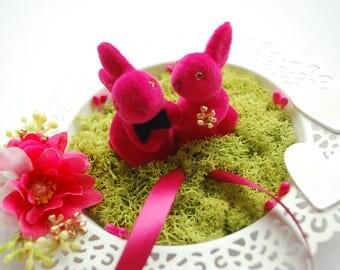 hot pink bunnies rabbits alternative ring bearer pillow, easter woodland alice in wonderland wedding, cake topper, engagement ring holder
