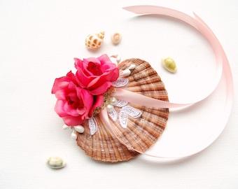 Pink Roses Seashell Ring Bearer  Pillow, Seashell Engagement Ring Holder, Nautical Beach Mermaid Wedding Party, Hawaiian Wedding Pillow