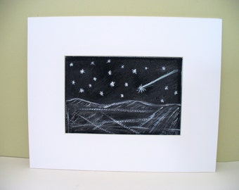 Shooting Star Drawing Black and White Art Starry Starry Night