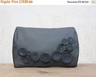 SALE evening bag clutch grey leather clutch bag oversized clutch coctail bag party clutch winter fashion frozen roses,chistmas gift