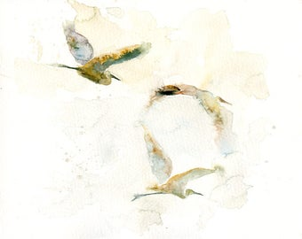 EGRETS Original watercolor painting 8x10inch