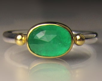 Emerald Ring, Rose Cut Emerald Ring, Sterling Silver and 22k Yellow Gold, Made to Order