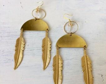 Feather and quartz dangles