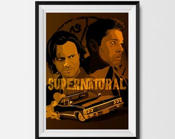 Supernatural, Supernatural Print, Supernatural Poster, Supernatural Art, Sam and Dean, The Winchesters, Geek Gift, Supernatural Fan