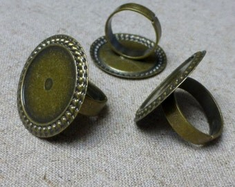 free shipping in UK - 10 pcs Antique Bronze Ring Component Setting Base