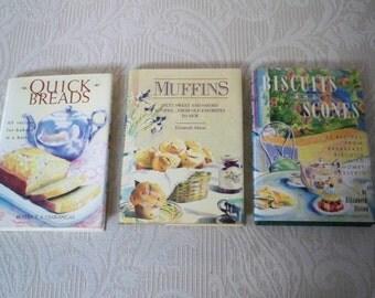 "Vintage Book Cookbook Set Breakfast ""Quick Breads"" ""Muffins"" ""Biscuits and Scones"""