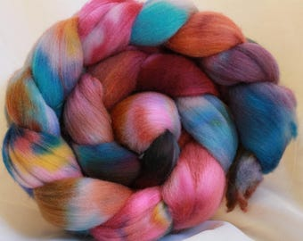 Hand dyed Organic Polworth spinning wool/fiber/roving 4.2 oz/119 grams #102