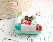 Red and Aqua Pincushion Square Pincushion Floral Pin Keep Scrappy Pin Cushion