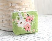 Small Pink and Green Coin Purse Spring Floral Change Purse Card Holder Zipper Pouch