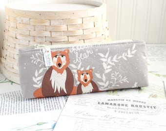 Woodland Bears Pencil Case Gray and Brown Pencil Pouch Cute Pencil Case Raccoons