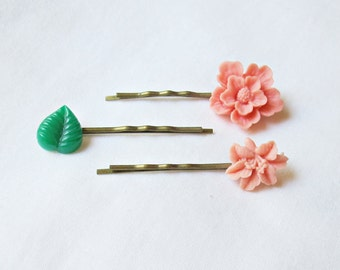 Pink Bobby Pin Set Botanical Hair Grips Barrettes. Vintage Leaf Flower Sakura Ombre Green. Floral Children Girls Women dspdavey Accessories