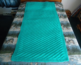 Turquoise Hand Knitted Diagonal Stripe Afghan, Blanket, Throw - Home Decor