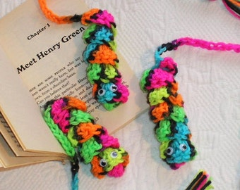 Crocheted Bookworms, set of 4 with moving eyes for Readers of All Ages.  Ready to Ship.