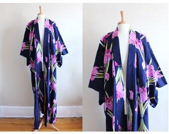 Vintage Navy & Purple Orchid Floral Long Kimono Robe
