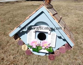 Outdoor wine cork birdhouse, country garden birdhouse, functional blue birdhouse, under 25
