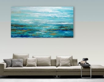 Abstract Seascape, Palette Knife Painting, Modern Painting, Art, LARGE Painting, Wall decor, Wall Art, Canvas Art, Acrylic painting Catalin