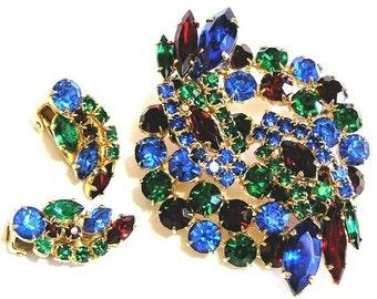 Beautiful Jewel Tone Brooch and Earrings Set