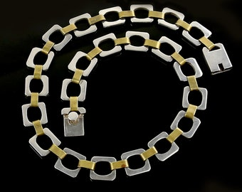 Vintage Mexican Sterling Silver and Brass Necklace