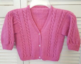 Girls Size 2 Yr Hand Knitted Button Up Sweater/ Rose Pink / Handmade Clothing For Kids/ Knit Childrens Winter Clothes