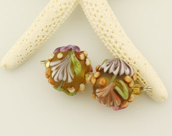 Lampwork Glass Beads, Matte Etched Green, Purple and Pink Floral Earring Pair