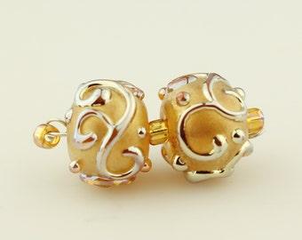 Lampwork Glass Bead Set, SRA Beige Gold Iridescent Scrolls