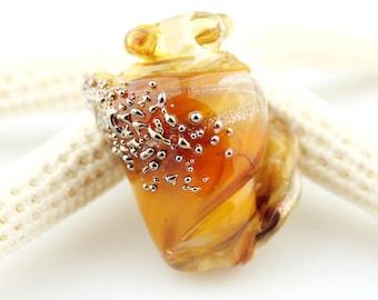 Glass Seashell Bead, Lampwork Focal, Shell,  Iridescent, Topaz