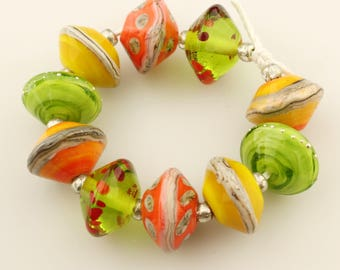 Lampwork Beads Set Etched Matte Rustic Glass Saucer, Green, Orange, Yellow,  Silver