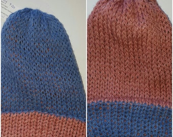 Rose or Blue Reversible Alpaca & Wool Hat