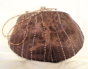 brown beaded bag, steampunk bag, victorian bag, beaded purse, small brown bag, party bag, evening bag,