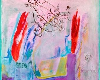 Fine Art Giclee Print, girl print, full color, modern wall art print by Ana Gonzalez
