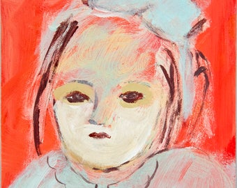 Fine Art Print, Giclee Art, from painting, modern wall art red turquoise, face girl, Merceditas by Ana Gonzalez