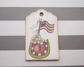 4th of July Hang Tags Watermelon Flowers USA Flag Independence Day Favor Tags Treat Tags - T581