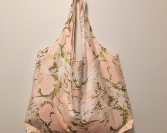 Large Tote Bag - Pink and Gold Pineapples