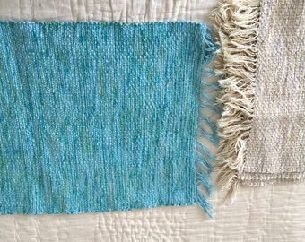 Vintage Hand Woven Wool PlaceMat Weaving Blue Mid Century 1960s Place Mat