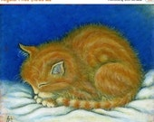 HOLIDAY SALE Tabby cat art print. Ginger Tabby Kitten