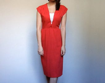 Vintage Office Dress Secretary Dress 70s Pencil Dress Fitted Red Dress Women - Extra Small XXS XS