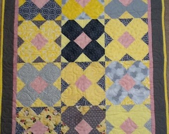 Yellow & Gray Flowers with a touch of Pink Handmade Quilt
