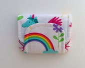 rainbow unicorn children's fabric wallet / purse . bright fairy tale print with aqua lining . kids coin purse . girls wallet